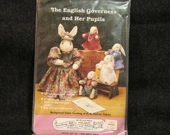Bunny Doll Craft Pattern  Vintage English Governess Bunny Doll
