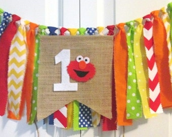 Elmo theme high chair banner-rag tie banner-burlap banner-photo prop-1st Birthday-cake smash-Birthday banner-garland-Sesame Street theme