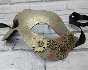 Steampunk masquerade mask, fancy dress mask, industrial style, party masks, UK, steampunk, masked ball masks, costume mask, cyber mask