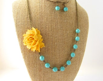 Yellow Statement Necklace Yellow and Turquoise Beaded Flower Necklace Wedding Jewelry Yellow Bridesmaid Jewelry