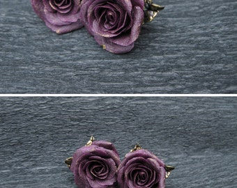 Girlfriend birthday gift ideas for her Dark purple earrings Gold rose earrings Purple flower earrings gothic earrings evening earrings