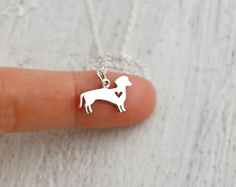 Dachshund Necklace -Sterling Silver Dachshund Charm Necklace with Heart Cut Out Wiener Dog Necklace Dachshund Gift Dog Necklace Dog Jewelry