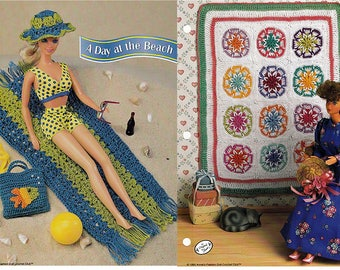 A Day At The Beach and Old Fashioned star Quilt Crochet Patterns Annies Fashion Doll Crochet Club FC04-03 and FC0103