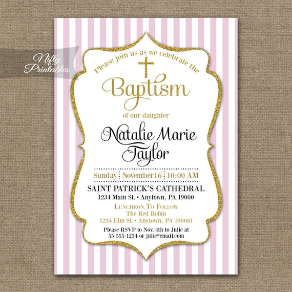 Girls Pink Baptism Invitations Printable Pink Gold Baptism