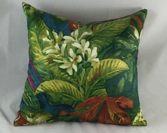 green jungle print cushion with parrot on cotton sateen cloth