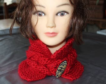 collar, Choker, red, tricotemain braid in the Center