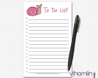 To Do Notepad - Cute To Do Lists - To Do List Notebook - To Do List Notepads - Simple To Do List |  Snail