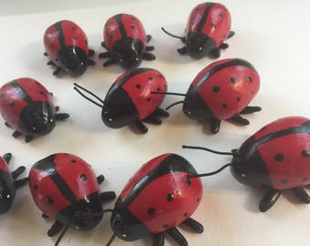 Mini Marble Friend Ladybugs Party Pack of Ten Decorations Table Decor baby shower bridal shower decor