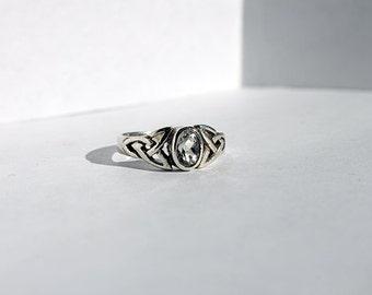 Vintage Sterling Silver Quartz Celtic Knot Ring, Silver Celtic Ring