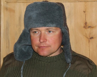 Mens winter hat Soviet vintage mens wool hat UNUSED trapper hat Soviet army winter hat with ear flaps Military winter hat Russian Ushanka