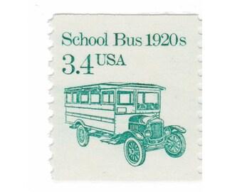 10 Vintage Unused Postage Stamps - 1985 3.4c School Bus 1920s - Item No. 2123