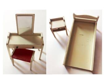 mid century modern dollhouse furniture. 1960s Mid-century Modern Dollhouse Furniture Bedroom Set - Vanity Bed Nightstand Mid Century