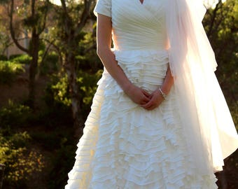 Bethany Modest Wedding Dress with Sleeves - Custom Made Wedding Dress - Wedding Dress with Sleeves - LDS Wedding Gown - Modest Gown