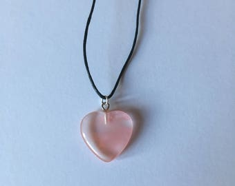 Handmade Cherry Quartz Gemstone Heart Necklace Choker
