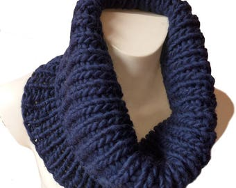 Blue Knit Cowl- Winter Cowl Scarf - Mens Cowl Scarf - Natural Fiber Cowl - Navy Blue Cowl - Mens Accessories - Chunky Knit Cowl