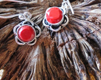 Red Coral and Sterling Silver Vintage Earrings,  1 inch