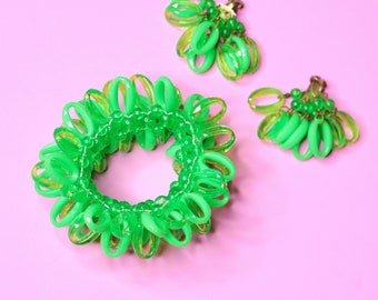 1960s | Vintage Lime Green Bangle Bracelet and Dangle Earrings Set