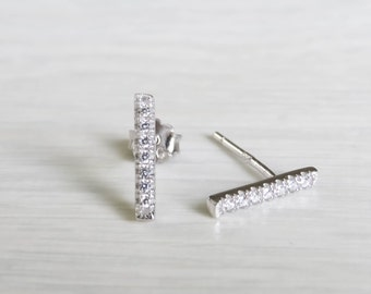 Silver Bar Earrings, tiny silver bar studs, sterling silver line earrings, silver line studs, silver minimal earrings, silver cz earrings
