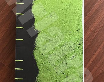 Hand Sewn Journal - Green Sparkles