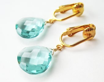 Pale Aqua Faceted Drop Clip On Earrings, Light Blue Teardrop Dangle Stones, Watery Blue Earrings for Non Pierced Ears, Morris Modern Gold