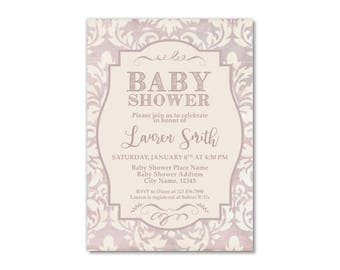 Taupe and Cream Baby Shower Invitation Printable, Mommy To Be Invite, Damask Online Invitation, Light Purple, Mauve Taupe, Purple Shade
