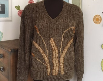 Vintage Anne Klein Sweater, Cattails Pullover, Rayon Blend Brown Sweater, 1980's Style