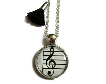 Treble clef Necklace - Music Necklace - Gift for Musician -Kids jewelry - Music Note Necklace - Bridesmaid Gifts  - Gift for Girls