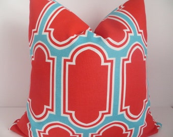 18x18 Outdoor/Indoor Pillow Covers, Pillow cover, Turquoise Pillow, Red Orange Pillow, Geometric Pillow, Outdoor Pillow