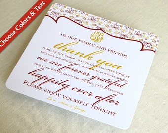 Ganesh Indian Wedding Thank You Card - Hindu Destination Reception Guest Bag - Custom Colors - Custom Wording