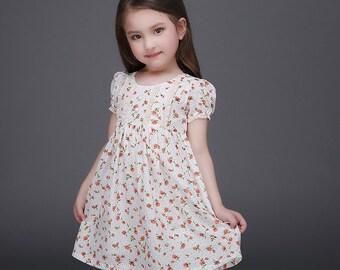 Smiley Oli - Toddler Preschooler Girls Orange Floral Vintage Ruffle Tie Back Dress (Ages 3 - 5)