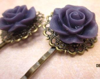 Dark purple rose antique bronze bobby pins set of two