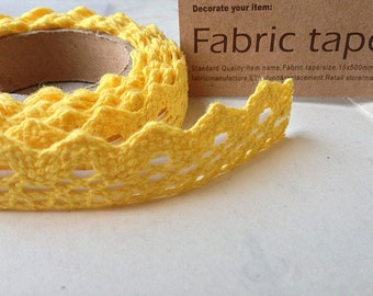 1 Roll of (79 inches) of  Yellow Color Fabric Tape / Adhesive Cotton Lace Tape (n.ig)