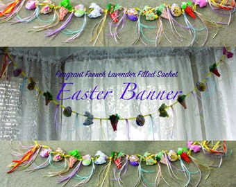Easter Egg/Bunny/Carrots /  Springtime Quilty Garland / Novelty /  OOAK / Folk Art / Party Decor / Fragrant Lavender Sachet Quilty Critters