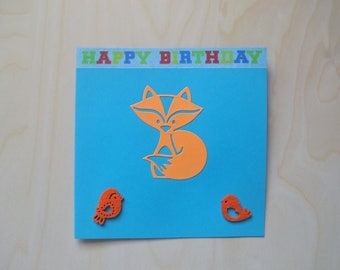 Card fox orange / green for birthday