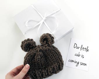 Pregnancy Announcement, Baby Reveal, Bear Hat Pregnancy Reveal, Baby Hat, Gift Set