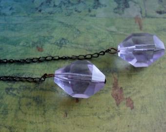 LAVENDER QUARTZ Beaded  Lariat / Tie NECKLACE / Pale Purple / Simple Lariat Necklace / Unique / Gift for Her / Gift Boxed
