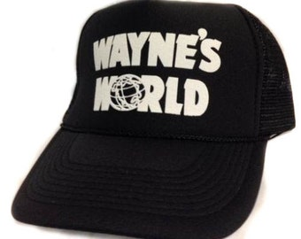 Get it in 1-3 days Wayne's World movie hat Trucker Hat Mesh Hat Snap Back Hat black express 1-2 day shipping available