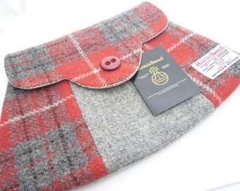 Red and Grey Tartan Harris Tweed Clutch Bag Handmade in Scotland