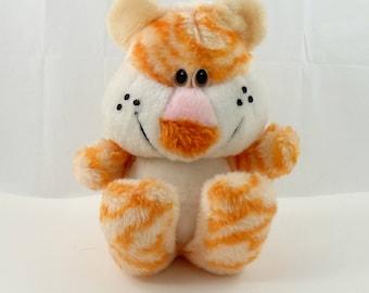 Vintage 80s Freckled Plush Teddy Bear, Orange Bear, Stuffed Teddy Bear, Stuffed Bear, Bear Lovers Gift, Sitting Bear Fuzzy Bear Peluche