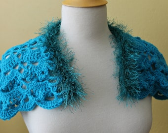 Crocheted Turquoise Shoulder Capelet. Lacy. Shawl.