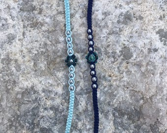 Light Blue Bamboo Cord Bracelet to