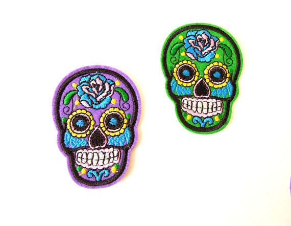 PURPLE Sugar Skull Iron-on Patch - Dia de los Muertos skull aplique - GREEN Sugar Skull Iron on Patch -  Skeleton patches.  Iron on patch
