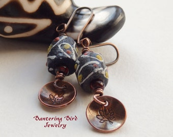 Small Black Earrings, African Krobo Bead with Tree of Life Charm, Tribal Hand Stamped Copper Jewelry