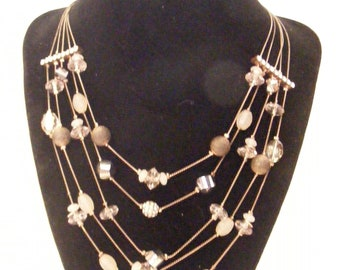 Vintage INC Beaded Necklace with Rhinestone Spacers