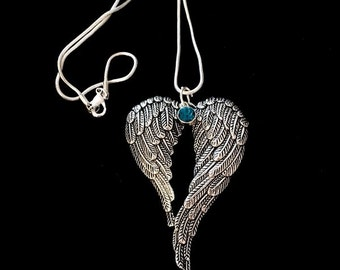 In remembrance of my Heavenly Angel Wings Birthstone Necklace