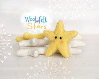 Wool Felt Stars - Large and Medium Wool Felt Stars - 9cm and 6cm Wet Felted Stars - Wool Felted Stars - Yellow Felt Stars - White Felt Stars