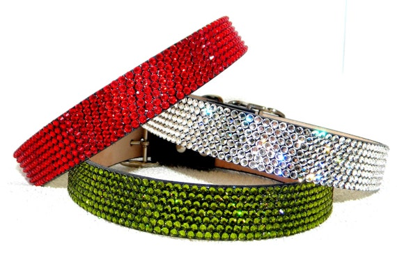 """Custom 16-19"""" Crystal Pet Project Collar by Glass Slippers w/ Swarovski +70 color choices 3/4"""" width Artisan crafted large Dog or Cat Jewels"""