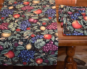 Faux Fruit Table Runner with 8 matching napkins
