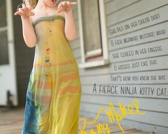 PranaMaker Dress Up Wraps. Handpainted by Natalia Hacerola. Fierce Ninja Kitty Cat Wrap.