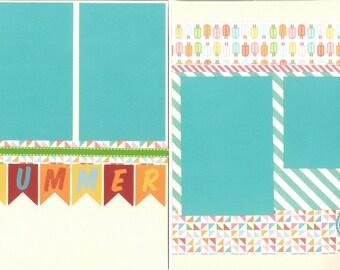 12x12 SUMMER scrapbook page kit, premade summer scrapbook, 12x12 premade scrapbook page, premade scrapbook page, 12x12 scrapbook layout